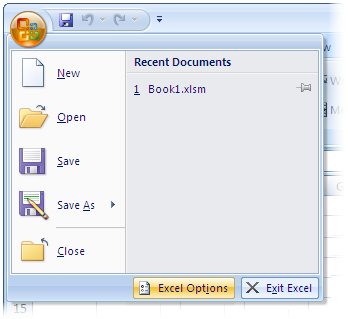 Opening the Options Dialog in Excel 2007
