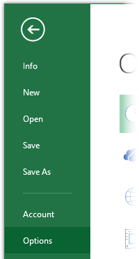Opening the Options Dialog in Excel 2013